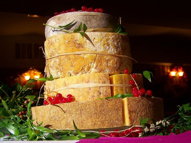 Wedding cake made from various cheeses